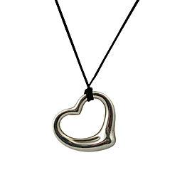 Tiffany & Co. Peretti Sterling Silver XL Heart Pendant Silk Necklace