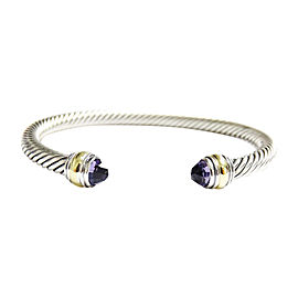 David Yurman Silver/14K Yellow Gold 5mm Amethyst Cable Classic Cuff Bracelet