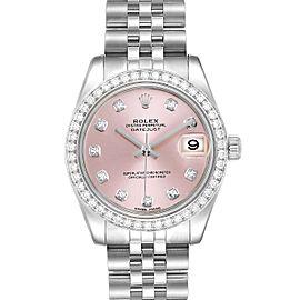 Rolex Datejust Midsize 31 Steel White Gold Diamond Ladies Watch 178384