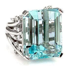 14K White Gold Emerald Cut Aquamarine Diamond Accents Cocktail Ring Size 5.75