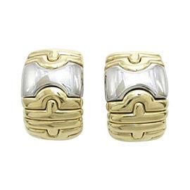 Bulgari Parentesi 18K Yellow Gold & Stainless Steel Italy Hoop Earrings