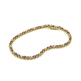 LeVian 18K Yellow Gold 2.60 Ct Multicolor Genuine Sapphire Bracelet