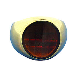 Pomellato 18K Yellow Gold Faceted Garnet Signet Ring