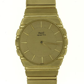 Piaget Polo 7661 C 701 18K Yellow Gold Quartz Vintage 34mm Mens Watch