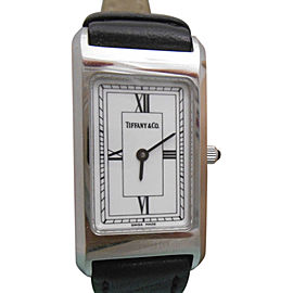 Tiffany & Co. Stainless Steel & Black Leather Band Roman Numerals Swiss Made 21mm Unisex Watch