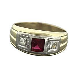 14K Yellow Gold Diamond, Ruby Ring Size 9