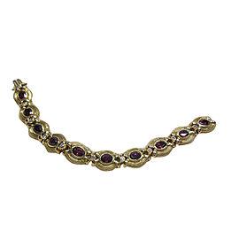 14K Yellow Gold Rubellite Tourmaline Diamond Bracelet