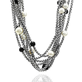 David Yurman Sterling and 18K Yellow Gold 8 Strand Pearl and Onyx Necklace