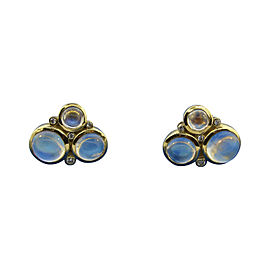 Temple St. Clair 18K Yellow Gold 0.53ct. Diamond and Moonstone Earrings