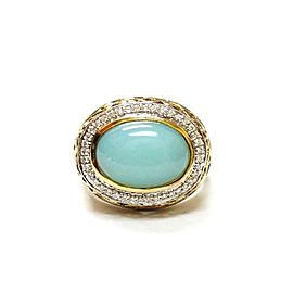 Charles Krypell 925 Sterling Silver & 18K Yellow Gold Turquose & Diamond Ring Size 6.75