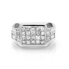 18 White Gold Invisible Set Princess 2.88ctw. Diamond Ring Size 9.75