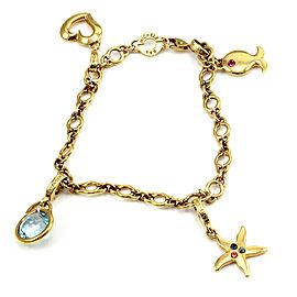 Michele 18K Yellow Gold Multi-Color Gemstone Charm Bracelet
