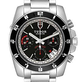 Tudor Grantour Black Dial Chronograph Steel Mens Watch 20350N Card