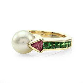 14K Yellow Gold Pearl, Tsavorite Garnet and Tourmaline Ring Size 6.75