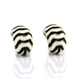 David Webb 18K Yellow Gold Kingdom Enamel Zebra Earrings