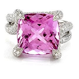Simon G. 18K White Gold Kunzite & Pave Diamond Ring Size 8.75