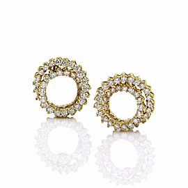 18K Yellow Gold 3.60ctw. Diamond Spiral Earrings