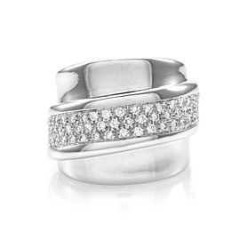 Designer Leo Pizzo Pavé Diamond Cigar Band/ Ring in 18K White Gold
