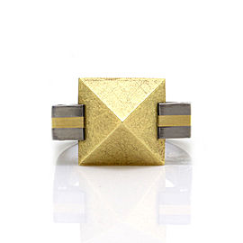 Bebel Platinum & 18K Yellow Gold Diamond Accents Pyramid Ring Size 9.5