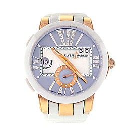 Ulysse Nardin Executive Dual Time 246-10/392 18K Rose Gold White Leather Automatic 40mm Womens Watch