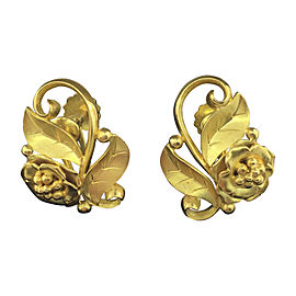 Georg Jensen 18K Yellow Gold Flower Earrings