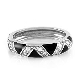 Hidalgo 18K White Gold Black Enamel & Diamond Zigzag Band Ring Size 6.25