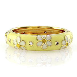 Hidalgo 18K Yellow Gold Diamond and Enamel Floral Eternity Band Ring Size 6.5