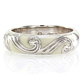 Hidalgo 18K White Gold & White Enamel with Scroll Design Band Ring Size 6.25