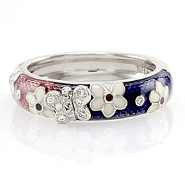 Hidalgo 18K White Gold Pink & Purple Enamel with Diamonds Butterfly Band Ring Size 6.25
