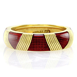 Hidalgo 18K Yellow Gold & Red Enamel Eternity Band Ring Size 6.25