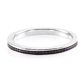 Hidalgo 18K White Gold & Purple Enamel Stackable Eternity Band Ring Size 6.5