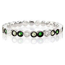 Hidalgo 18K White Gold Demantoid Garnet, Peridot and Diamond Stackable Band Ring Size 6.5
