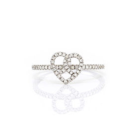 Hidalgo 18K White Gold & Diamond Heart Ring Size 6.25
