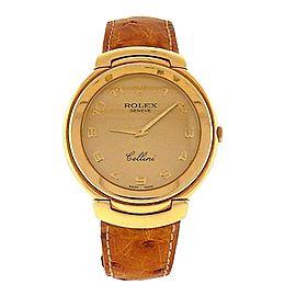 Rolex Cellini 6623 18K Gold Arabic Numeral 33mm Mens Watch