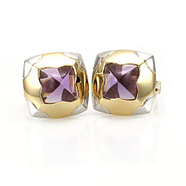 Bulgari 18K Yellow & White Gold & Amethyst Earrings