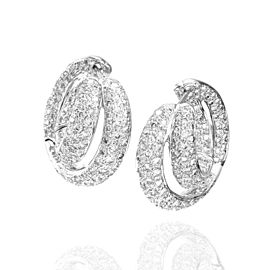 18K White Gold 4.28ctw. Pave Diamond Double Hoop Earrings