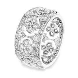 18K White Gold Pave Diamond Eternity Band Size 6.25