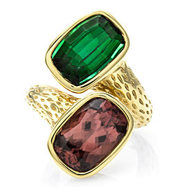 Green Tourmaline and Pink Zircon Ring in 18K Yellow Gold