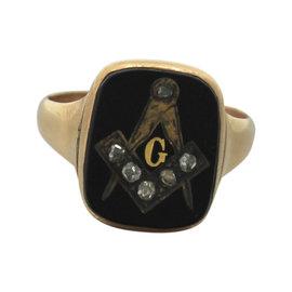 14K Yellow Gold with Black Onyx & Diamond Ring Size 11.50
