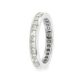 14K White Gold Princess Diamond Eternity Band Size 6.75