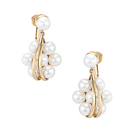 Mikimoto 14K Yellow Gold Cultured Pearl Cluster Drop Earrings