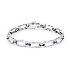 18K White Gold 1.75ct Sapphire & Diamond Link Vintage Bracelet