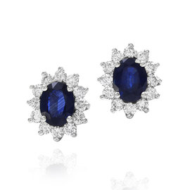 18K White Gold Blue Sapphire and Diamond Halo Earrings