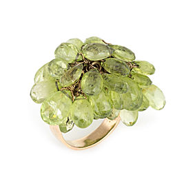 18K Yellow Gold with Peridot Charm Cocktail Vintage Ring Size 7.75