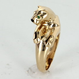 Cartier Panthere 18K Yellow Gold 0.05ct Emerald & Onyx Vintage Ring Size 5.75