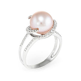 18K White Gold Cultured Pink Pearl & 0.26ct Diamond Cocktail Vintage Ring Size 8.75