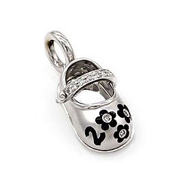 Aaron Basha 18K White Gold Diamond and Enamel Baby Shoe Pendant