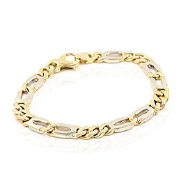 18K Yellow & White Gold Italian Curb Link Bracelet