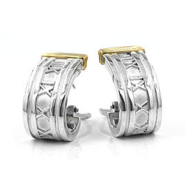 Tiffany & Co. Atlas Sterling Silver and 18K Yellow Gold Semi-Hoop Earrings