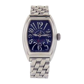 Franck Muller Conquistador 8005 L Stainless Steel Blue Dial Automatic 24mm Womens Watch